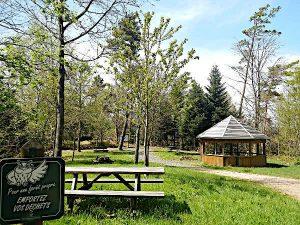 Höchster Punkt des Arboretum Anould. Hütte.