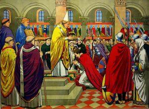 Bilderbogen aus der Imagerie Epinal zur Krönung von Karl dem Großen