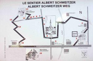 Weg-Skizze des Gedenkwegs Albert Schweitzer