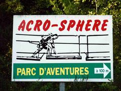 Un panneau indicateur Acro-Sphere.