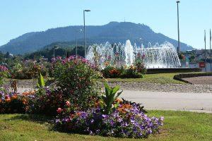 Verkehrsinsel mit Blumen und Springbrunnen.