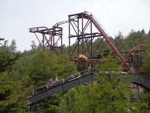 roller coaster in the leisure park fraispertuis
